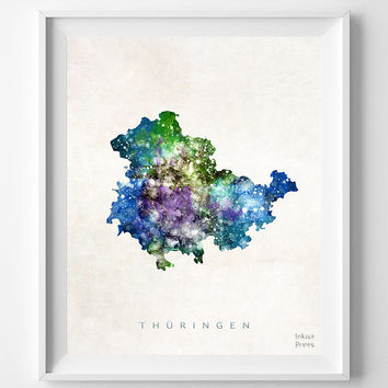 Thuringen Map, Germany, Print, Thuringia, Watercolor, Europe, Home Town, Poster, Country, Nursery, Wall Decor, Painting, Bedroom, World