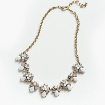 Brenda White Crystal Teardrop Necklace