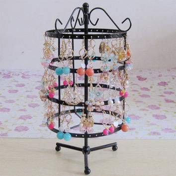 144 Holes Rotating Black Jewelry Organizer Display Stand Holder Earrings Necklace Hanging Display Rack  For Women #46674