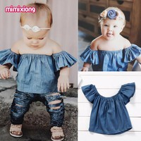 Fashion Summer Kids Baby Girl T-shirt Navy Off-Shoulder Toddler Short Ruffles Sleeves Tops Casual Outwear Children Clothing 0-2Y