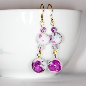 Purple handmade earrings Purple long earrings Purple dangle earrings Handmade long earrings Handmade dangle earrings Glass beads earrings