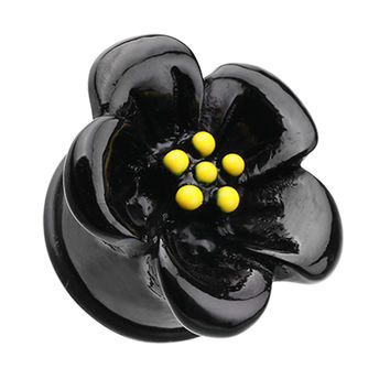 Adorable Hibiscus Flower Single Flared Ear Gauge Plug