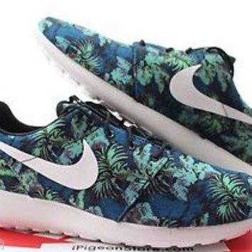 sports shoes afa6f 673e7 Nike Roshe Run Print Floral Blue Poison Green Aloha 8-12 Rosherun 655206 413