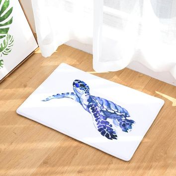 Painted Turtle Non-Slip Flannel Mat (2 different sizes)