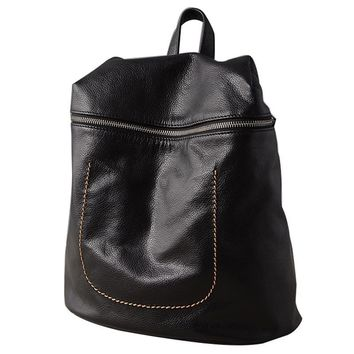 Women Genuine Leather Minimalist Stitched Sack Backpack