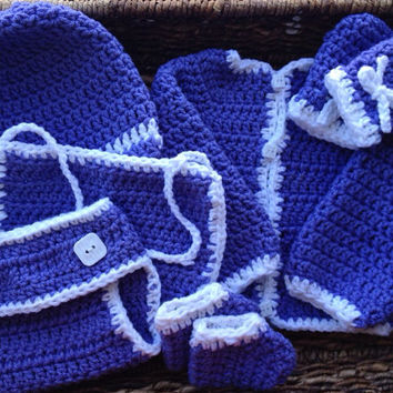 Crochet Lavender Newborn Baby Sweater Gift Set