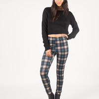 Plaid Stretchy Pants - Green - Green /