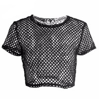 Fishnet Short Sleeve Crop Top
