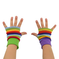 Toddler Arm Warmers in Rainbow Stripes - Mismatch Fingerless Gloves - LAST PAIR