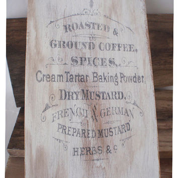 Coffee sign, kitchen sign, home decor, vintage coffee ad, wooden kitchen sign, kitchen signs, kitchen decor, shabby chic, FREE SHIPPING