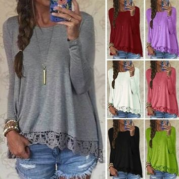 Women Crew Neck Blouse Sleeve Lace Crochet Casual Loose Tops Shirt Long