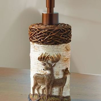 Deer Bathroom Soap Lotion Pump Lodge Cabin Country Hunter Rustic Primitive