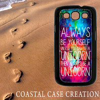 Galaxy Space Unicorn Quote Samsung Galaxy S3 Hard Plastic or Rubber Cell Phone Case Cover Original Design