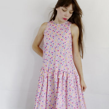 1980s ice cream print dress - vintage pink Popsicle dress - sleeveless a line skater dress - cotton full circle skirt - women small medium