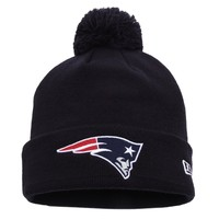 New England Patriots New Era Navy Blue Pom Pom Cuffed Knit Hat