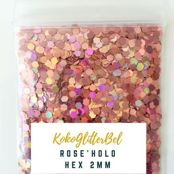 Holographic Glitter Hex- Rose 2 mm