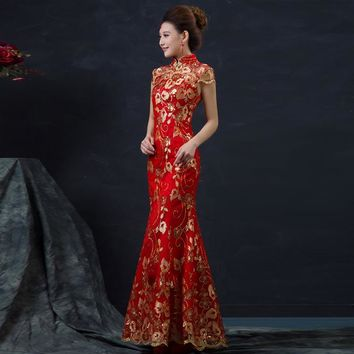 Red Chinese Wedding Dress Female Long Short Sleeve Cheongsam Gold Slim Chinese Traditional Dress Women Qipao for Wedding Party 8