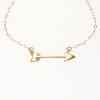 14K Solid Gold Arrow Necklace -  Sideways Cupid Arrow, Celebrity Style Jewelry, Emma Roberts