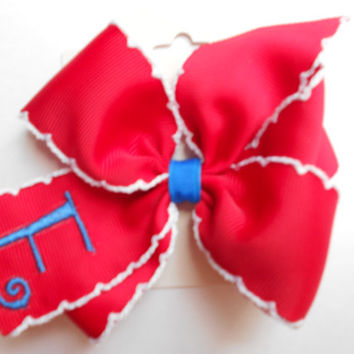Red Monogrammed Moonstitch Custom Boutique Patriotic Summer Parade Hair Bow Initial American Flag Personalized Gift Red White Blue