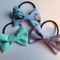 Set of Three Hair Bow Bobble Ties - Hairbow Hair band Elastic Floral Blue Green Polkadot Purple Pastel Polka Dot Fairy Kei Kawaii Lolita