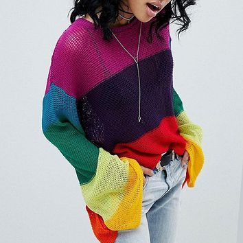 Color Block Rainbow Long Trumpet Sleeves Loose Knit Sweater