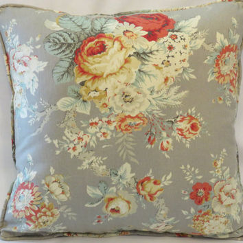 "Grey Cottage Floral Throw Pillow - NEW Waverly Santctuary Rose 18"" Square Insert Included Ready Ship Complete Cushion Gray Coral Rust Yellow"
