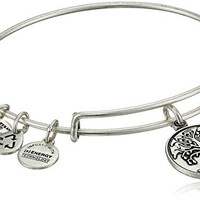 "Alex and Ani Bangle Bar ""Tree of Life"" Rafaelian Silver Finish Expandable Bracelet"
