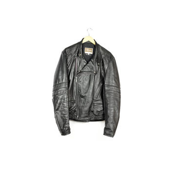 mint vintage 1970s classic black leather motorcycle jacket / mens size 42 long l - xl / 60s 70s