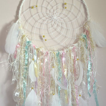 Boho Dream Catcher, White Mint Blush Dreamcatcher, Wall Hanging Decor, Shabby Chic Nursery Wall Decor, Bedroom Nursery Wall Decor,