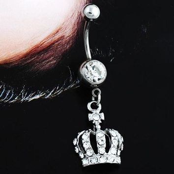 ac PEAPO2Q Hot Chic Navel Belly Button Ring Crown Rhinestone Crystal Piercing Body Jewelry  6W2E