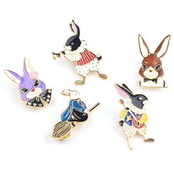 Cute Cartoon Alice in Wonderland Brooch Lovely Rabbit Enamel Lapel Pins Hat Clothes Backpack Jewelry Accessories Gifts for Girls