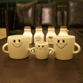 LMF9GW 3Pcs/combo Cute Smile Mom Dad Son Family Mug Mug A Family Of Three Parent-Child Couple Cups Creative Coffee Cup Ceramic Hand