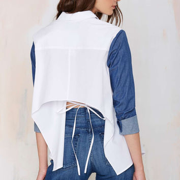 White Denim Sleeve Asymmetrical Button Collared Shirt