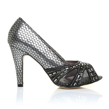HOLLY Black/Pewter Snake Peep Toe High Heel Party Prom Wedding Shoes