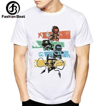 Funny Pikachu Costume T Shirts Kombat and Pokemon Creative Design Cute Bulbasaur Squirtle T Shirt Ninja Men Hipster Casual Tops
