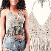 Crochet Bikini top, Sexy Lace beach top, Summer Festival top, Hippie clothes, Fringed Bikini Top