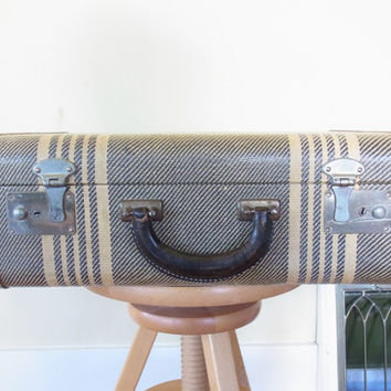 vintage suitcase / old suitcase / wedding card holder tweed striped suitcase old luggage antique suitcase 1940s 1950s decorative suitcase