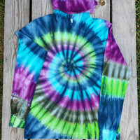 Large Blue Green and Violet Tie Dye Hoodie, Adult Long Sleeve Tshirt with Hood, Hippie, Festival Deadhead,  Womens, Mens, Ready to Ship