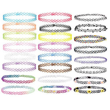 BodyJ4You® Choker Necklace Rainbow Flower Stretch Gothic Tattoo Henna 24 Pieces
