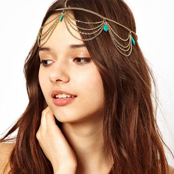 2014 Excellent Style Women Head Turquoise Chain Jewelry Headband Party Headpiece Hair Band New