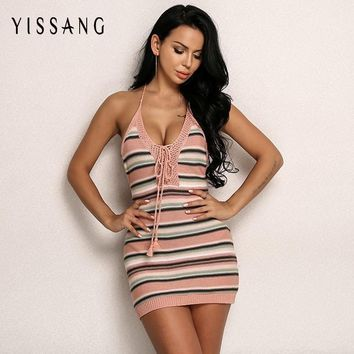 Yissang Knitted Dress Women Summer Sexy V Neck Mini Dresses Backless Autumn Bow Tie Woman Dress Halter Party Club Vestidos