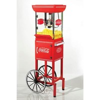 "Nostalgia 48""Tall Coca-Cola Series Kettle Popcorn Cart"