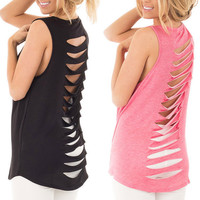 Fashion Solid Color Hollow Casual Sleeveless Tunic Shirt Top Blouse