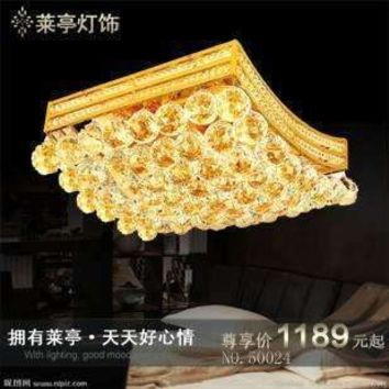LAITING Traditional Gold Square Crystal Lamp Modern Led Ceiling Lights Surface Mounted Bedroom Lighting LT-50024