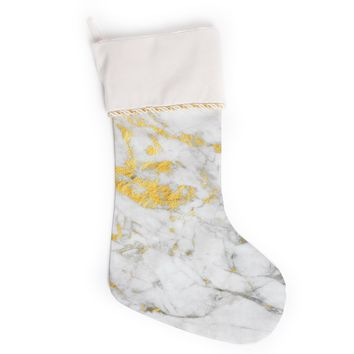 "KESS Original ""Gold Flake"" Marble Metal Christmas Stocking"