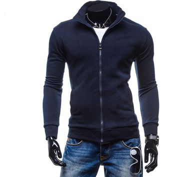 Hoodies Men Retro Cardigan Zipper Placket Hoodie Sweatshirt Slim Men Hoody