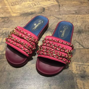 Chanel 2017 Tropiconic Slide Sandals Red