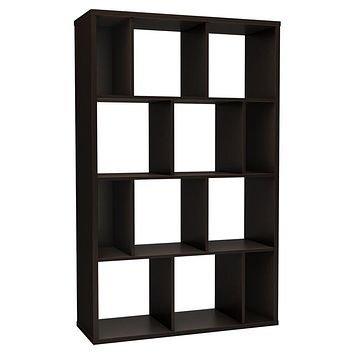 Modern Wall Revealing 4-Shelf Bookcase in Chocolate Finish