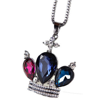 Multi Diamond Crown Shaped Chain Necklace