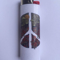 Peace sign custom BIC lighter